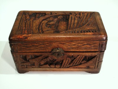 Very Old Antique Asian Handmade Wood Jewelry Box Chest