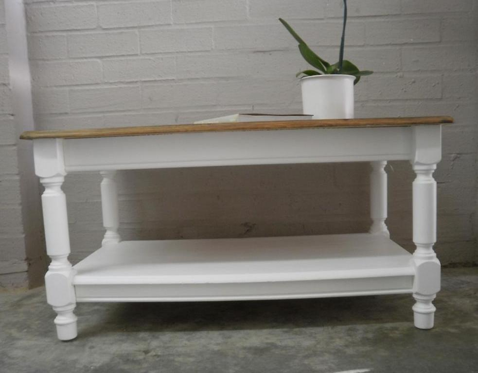French Country Style Beach House Coffee Table With Shelf Ebay