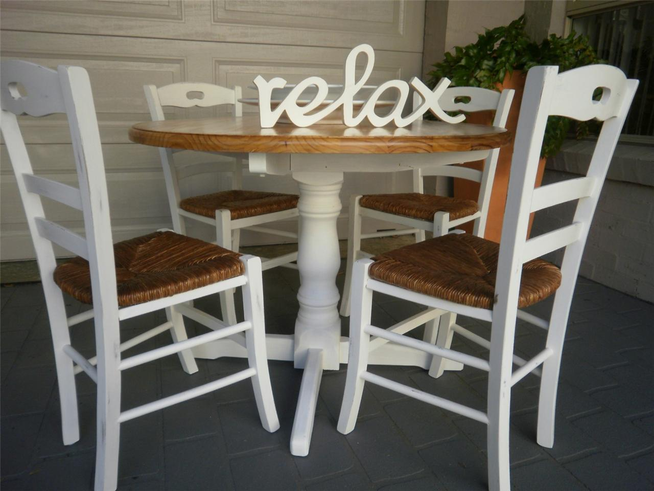 French Country Beach House Dining Kitchen Table And 4 Rush Seat Chairs Ebay