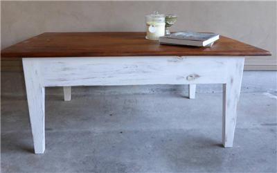 Rustic french country beach house hamptons style coffee for Rustic beach coffee table