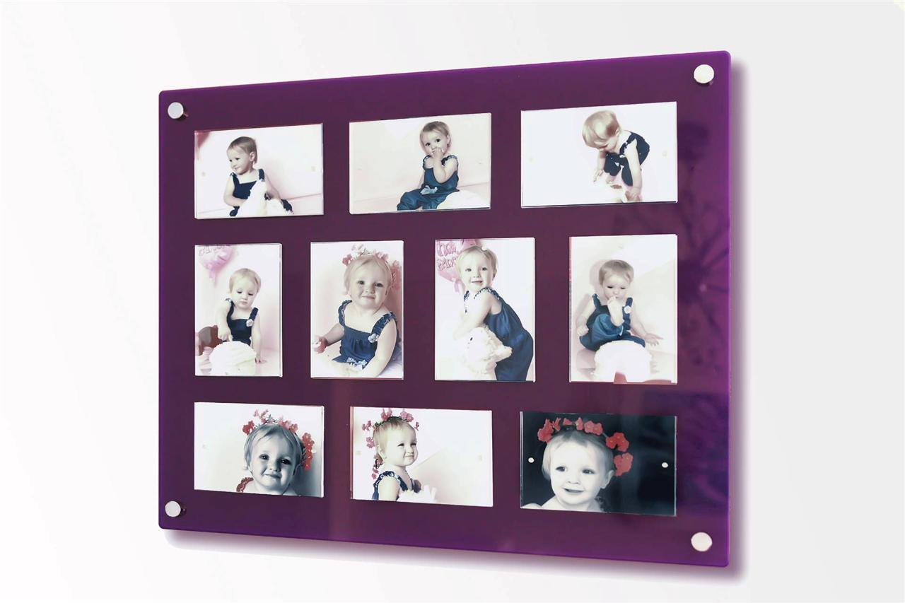 large gloss magnetic perspex acrylic picture wall multi photo frame 10x 6x4 ebay. Black Bedroom Furniture Sets. Home Design Ideas