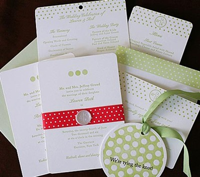 Polkadot wedding invitation