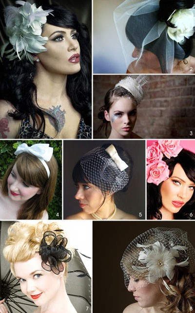 Bridal Fascinators on The 50s Style Wedding Blog  50s Wedding Veils And Fascinators