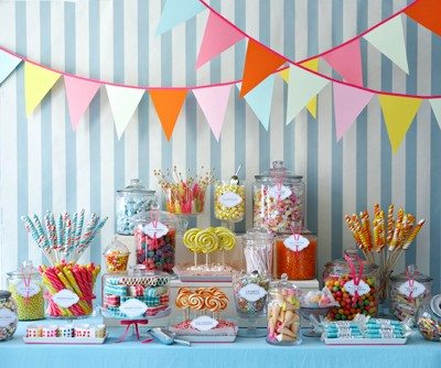 A candy buffet is the perfect addition to a 50s style wedding reception
