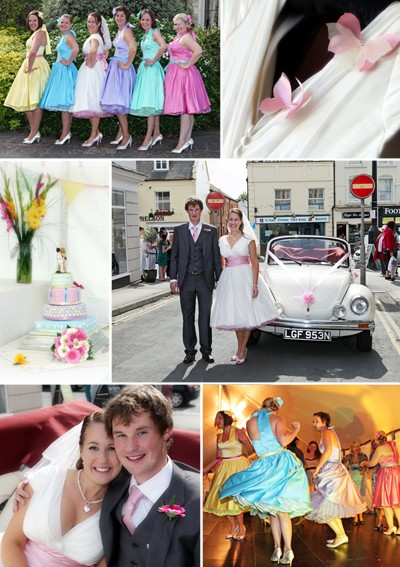 some fun into their 50 39s style wedding with their candy colour scheme