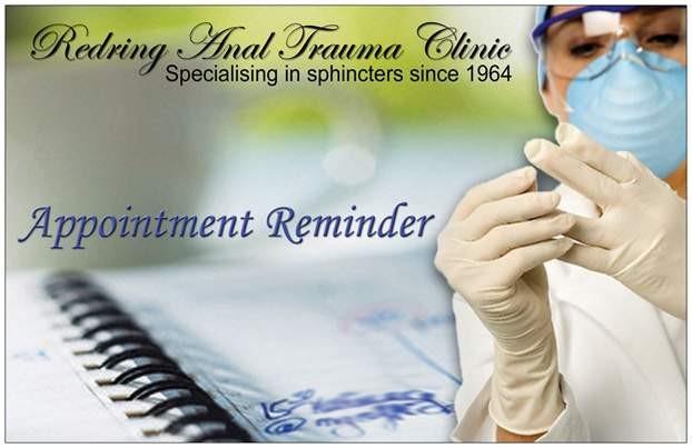 Anal Trauma Clinic prank postcard front