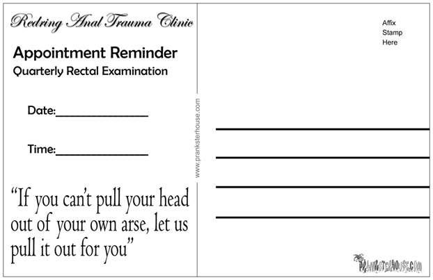 Anal Trauma Clinic Prank Postcard