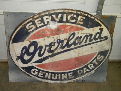 Old Willys Jeep Overland Service Auto Dealer Gas Motor Oil Porcelain