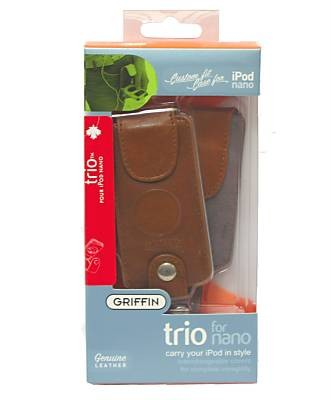 Griffin Brown Leather 3 in 1 Trio Apple 1st & 2nd Generation iPod Nano Case