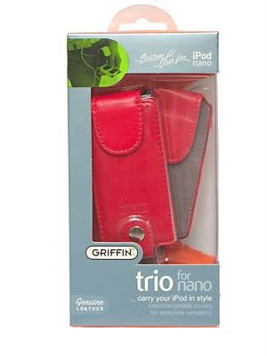Griffin Fuschia Leather 3 in 1 Trio Apple 1st & 2nd Generation iPod Nano Case