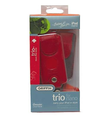 griffin red leather 3 1 trio apple 1st 2nd generation ipod nano case