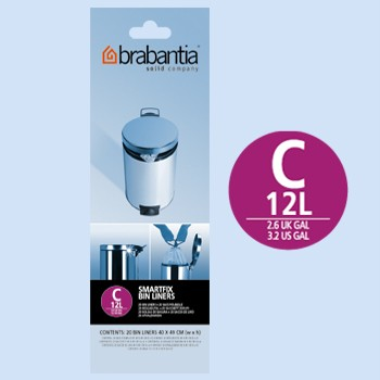 Brabantia Smartfix C 10 12L Trash Can Bin Liners 20 Bags