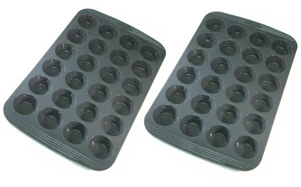 Chefs Toolbox Silicone Non Stick 24 Cup Mini Muffin Cupcake Pan 2pk