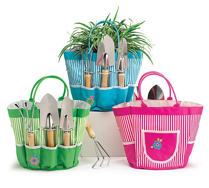 Burton striped garden tote gift set w gardening tools ebay for Gardening tools gift set