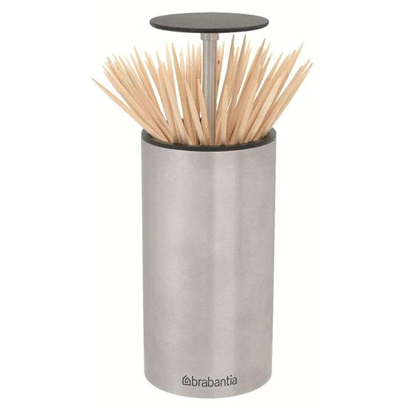 Brabantia get together stainless steel soft touch pop up toothpick holder ebay - Stainless steel toothpick dispenser ...