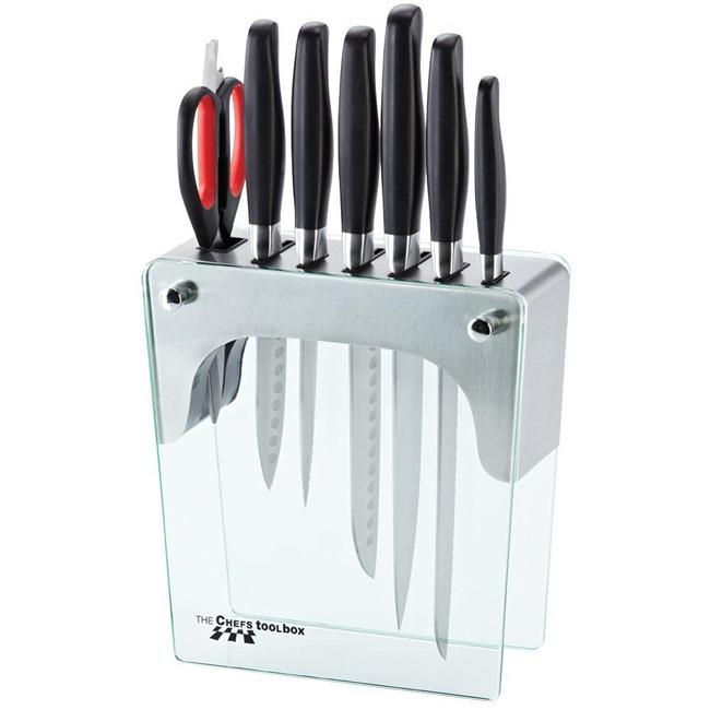 chefs toolbox 8pc forged knife stainless steel glass block set ebay. Black Bedroom Furniture Sets. Home Design Ideas