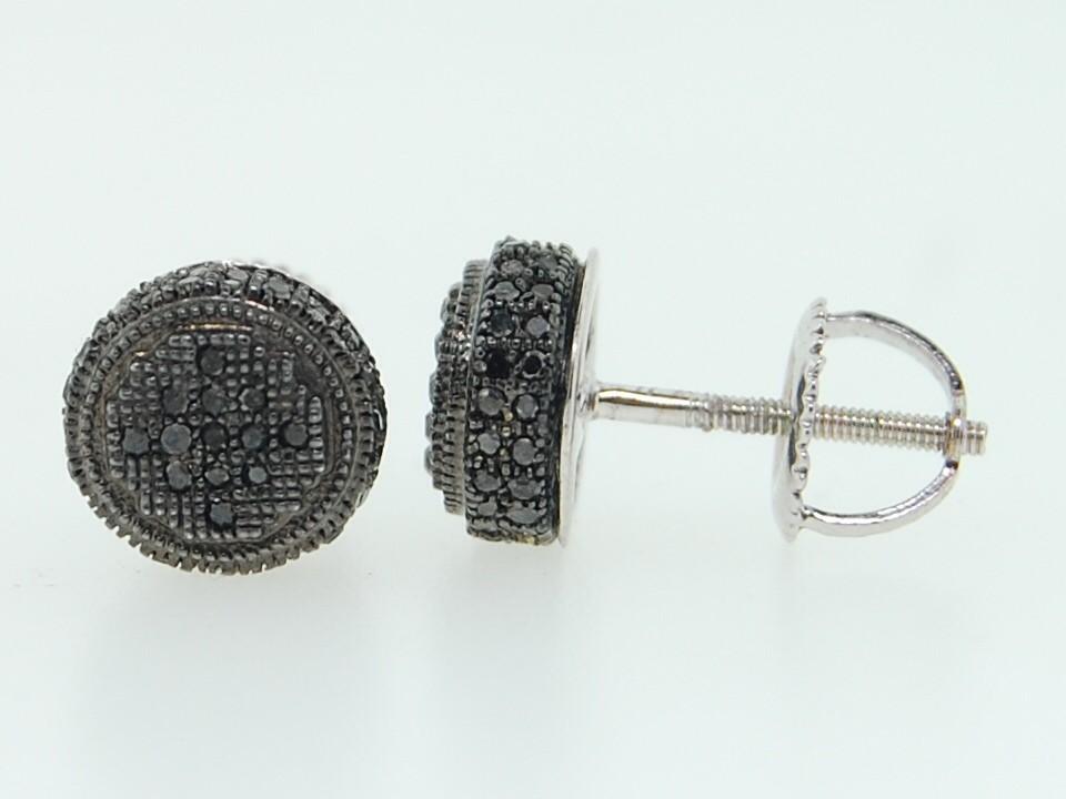 Men s 10K White Gold Pave Set Black Diamond 3D Circle Stud Screw Back Ear
