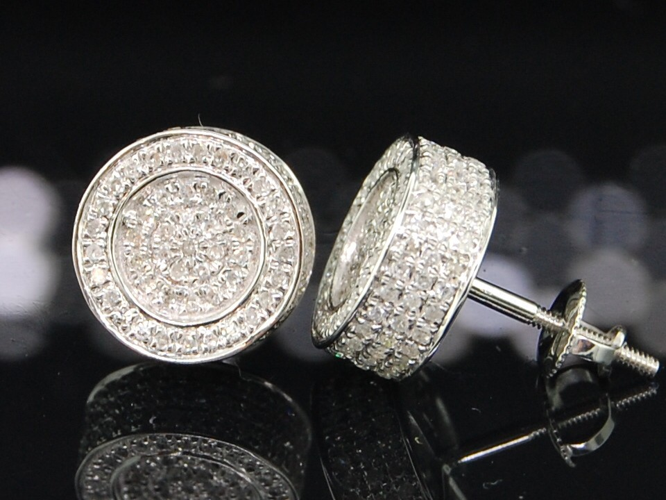 mens white gold 7ct 3d circle studs earrings ebay