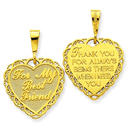 YELLOW GOLD BEST FRIEND HEART CHARM REVERSIBLE PENDANT