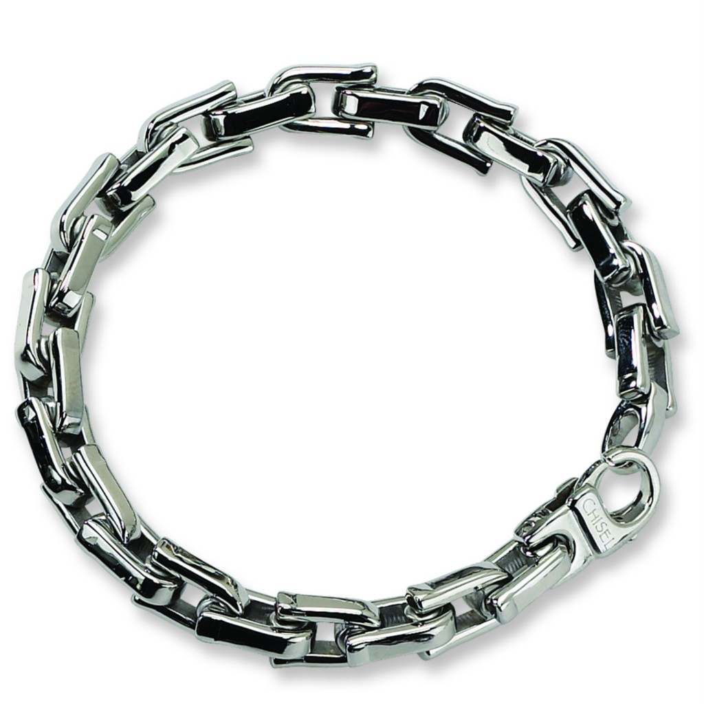 mens chisel 174 stainless steel lobster clasp cable design 8