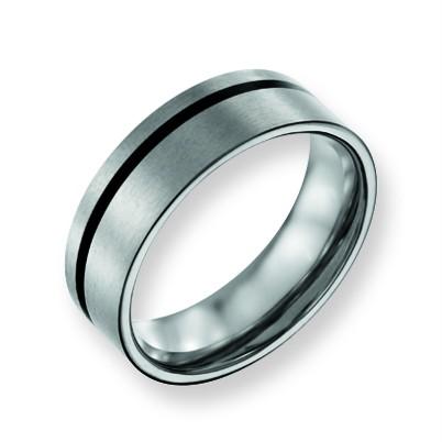 Mens ChiselR Titanium Engraveable Black Rubber 7mm Flat Wedding Band Ring Sz 11