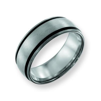 Unisex ChiselR Titanium Black Rubber Engraveable 8mm Wedding Band Ring Size 10
