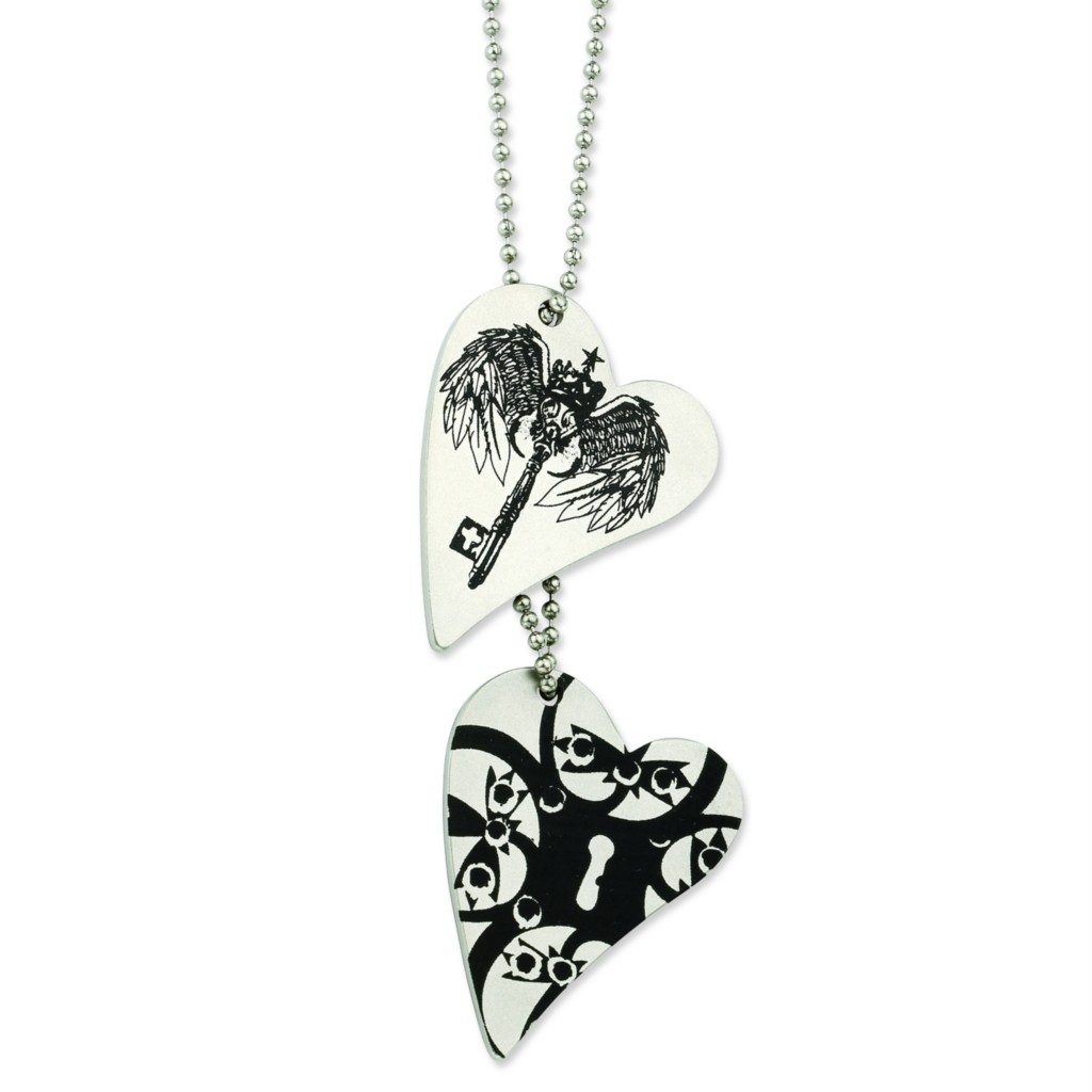 chisel stainless steel key to my heart tattoo heart dog tag 24