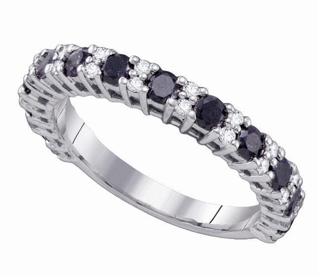 Womens La s 10K White Gold 1 09Ct Black Diamond Wedding Band Anniversary Ri