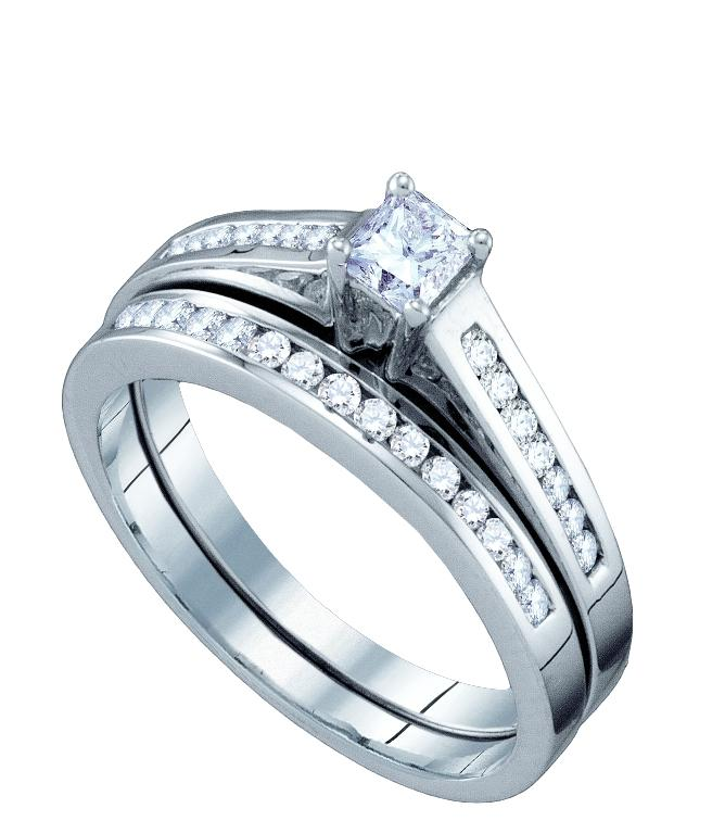 ... Women's White Gold Princess Solitaire Diamond Engagement Ring Bridal