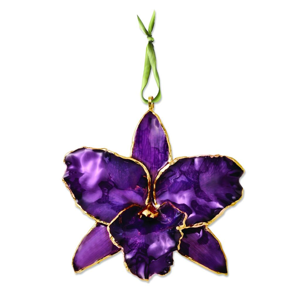 Flowers Amp Leaves Lacquer Dipped Genuine Purple Cattleya
