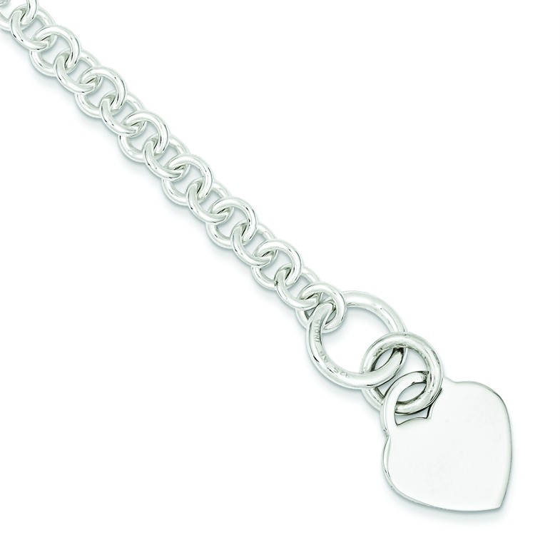 925 Sterling Silver Rolo Link Engraveable Flat Heart Disc 7.5 ...