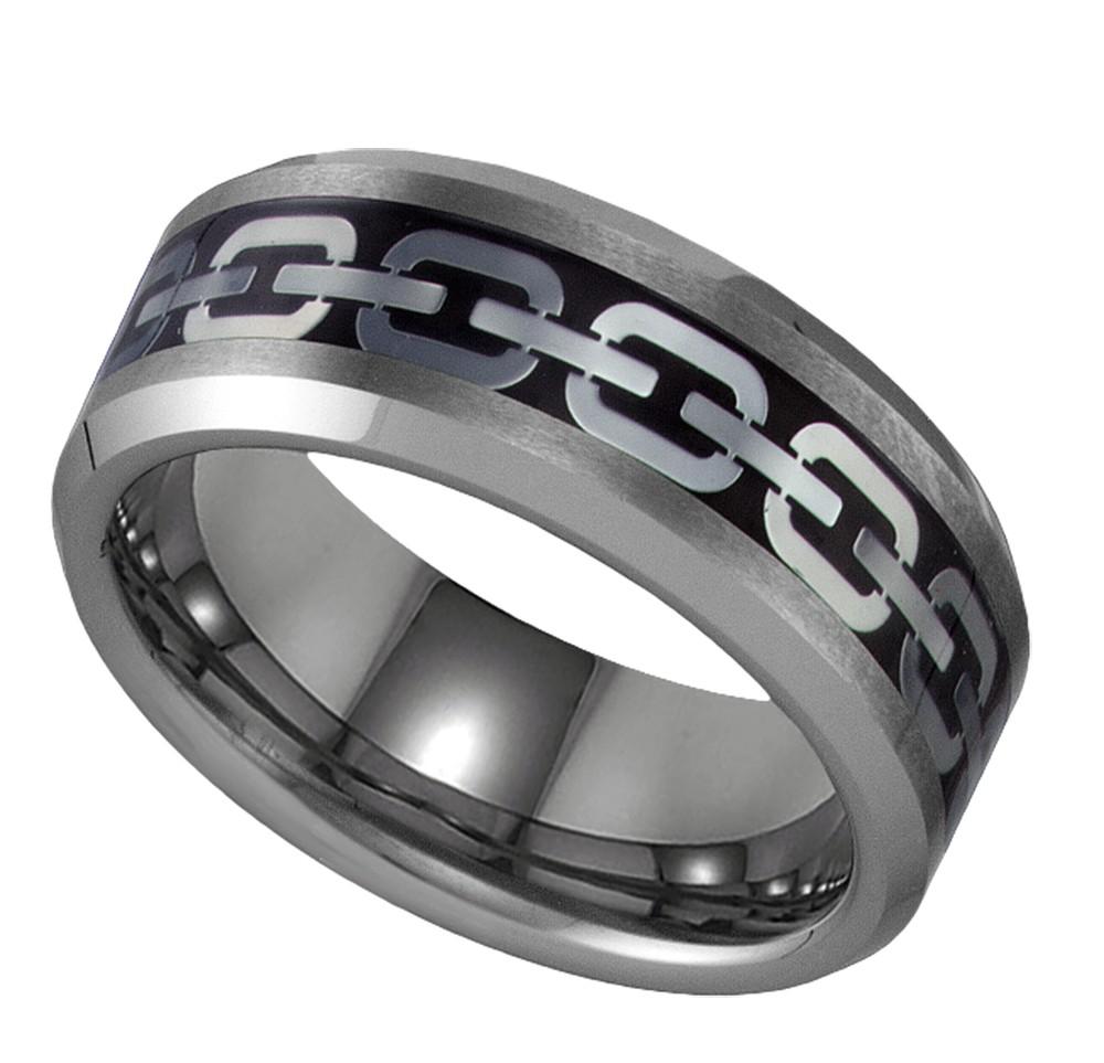 tungsten chain link design inlay 8mm geraud wedding band