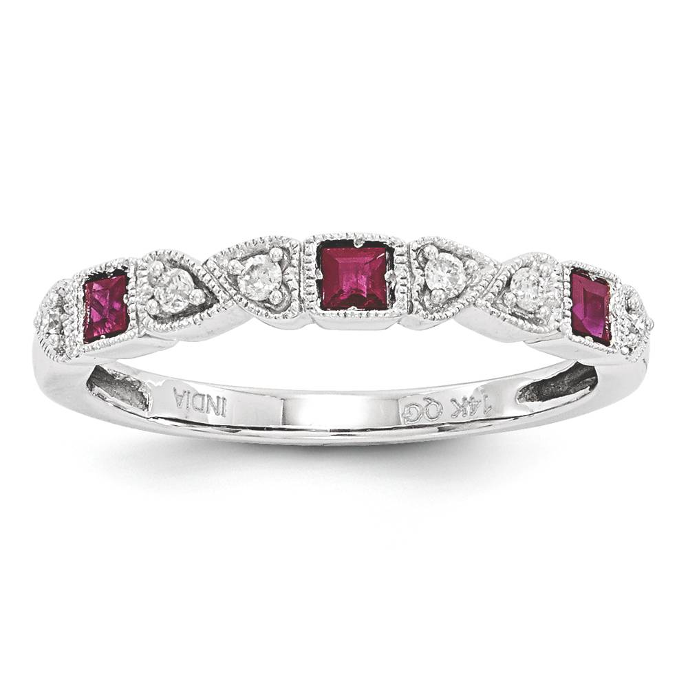princess cut ruby band ring 14k white gold 0 10
