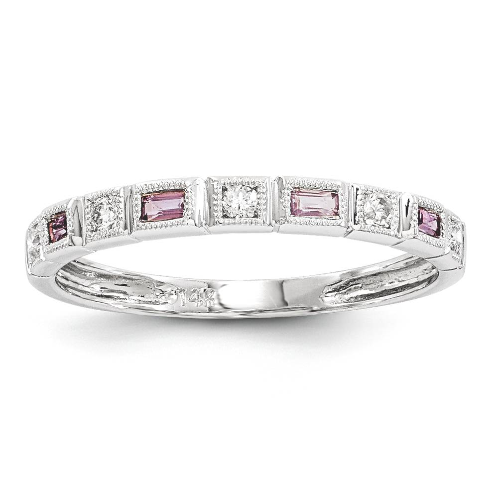 Pink Gold Diamond Bands: Baguette Diamond & Pink Sapphire Band Ring 14K White Gold