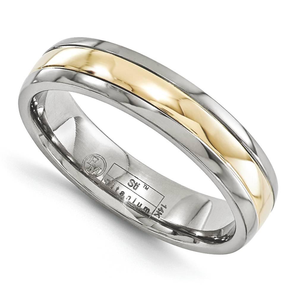 edward mirell 5mm wedding band ring titanium 14k yellow