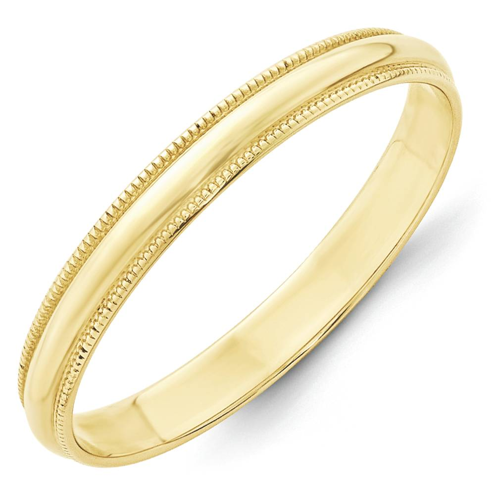 wedding band ring 10k yellow gold 3mm half round lightweight size 12