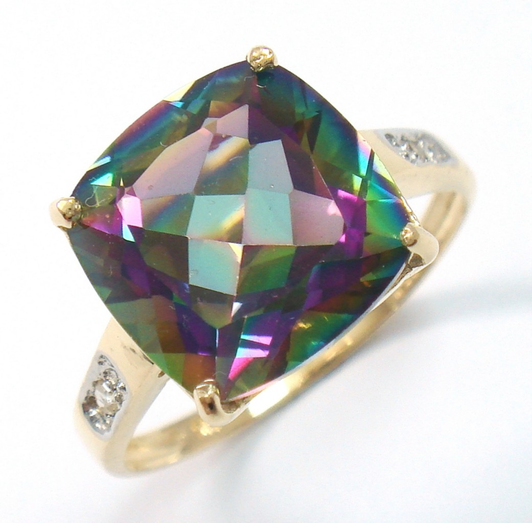 new 9ct yellow gold square mystic topaz ring