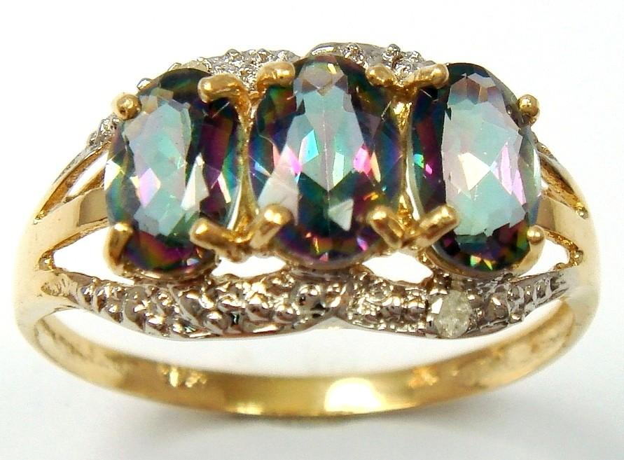 splendid 9ct solid yellow gold mystic topaz ring