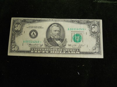 1974 Fifty Dollar Bill http://www.ebay.com/itm/1974-50-Dollar-Boston-Massachusetts-Star-Note-Bill-/190593145453