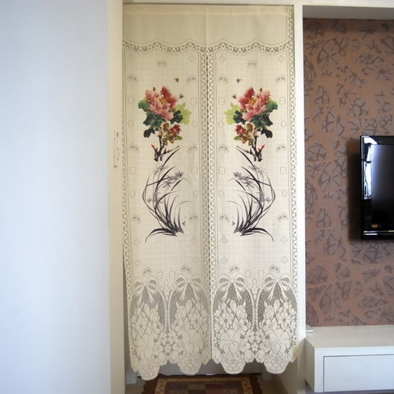 Peony And Orchid Printting Door Curtain D2927 Ebay