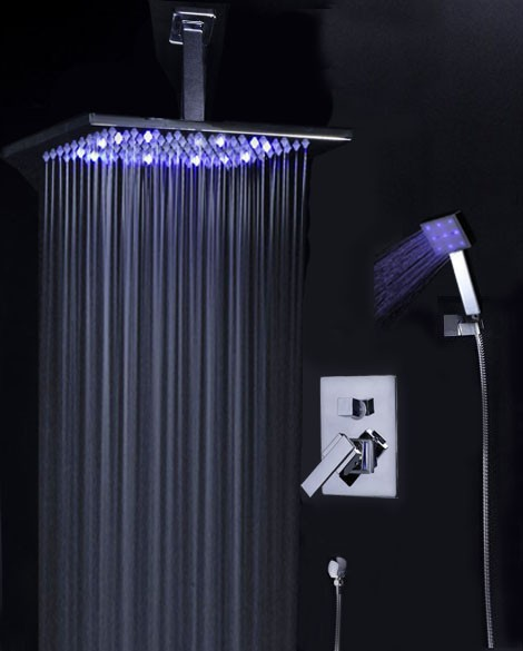 Shower Faucet System With Ceiling Mounted 10 LED Rain Shower Head AL 61