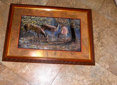 home interiors gift deer in the woods framed picture euc home interiors deer picture framed amp matted doe buck deer