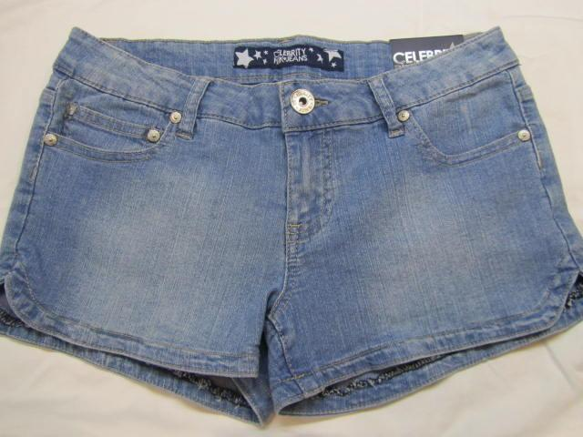 Womens-Juniors-new-Celebrity-Pink-denim-jean-shorts-size-5-nwt-light-blue