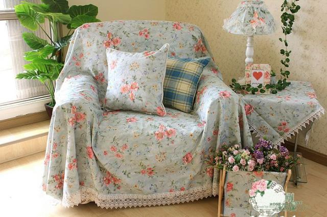 Country Floral Blue Chair Sofa Loveseat Throw Cover