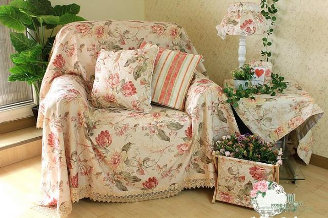 Shabby Country Floral Chair Sofa Loveseat Throw Cover