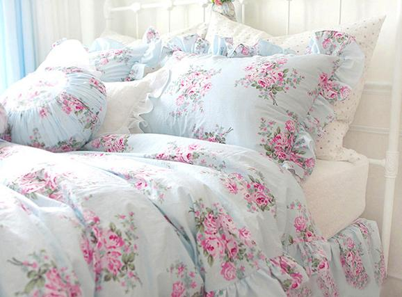King Queen Full Twin Princess Shabby Floral Chic Blue