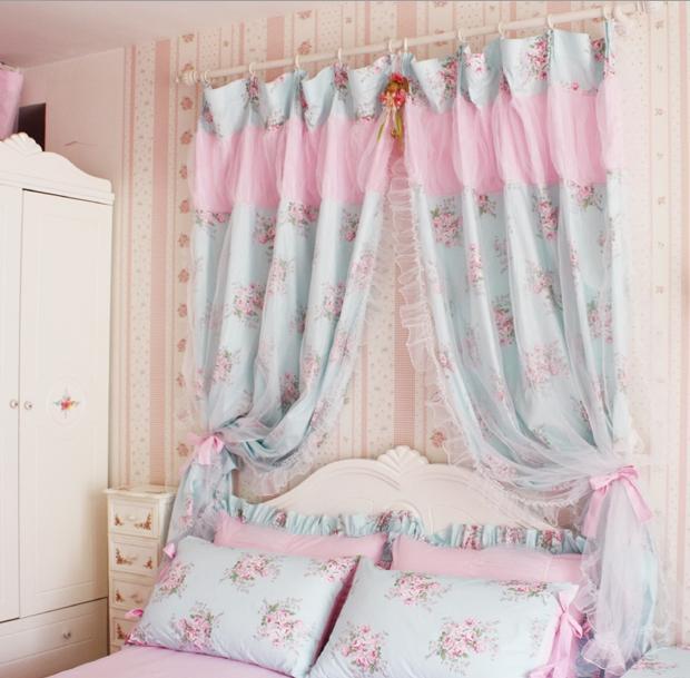 2 Of Shabby Princess Chic Cottage Rose Floral Blue Curtain Panel Drape C Style Ebay