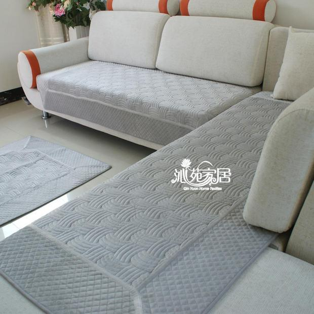 Plain Grey Sofa Couch Non Slip Cover Mat Floor Runner