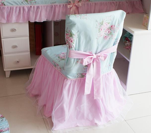 Country shabby floral rose cottage chic blue pink chair cover a style