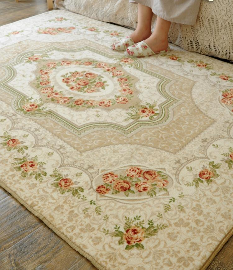 French Country Victorian Floral Cream Living Bedroom Floor